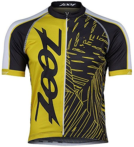 ZOOT SPORTS Men's Cycle Team Jersey, Small, Pewter/Sub Atomic Yellow