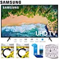 """Samsung 58"""" NU7100 UHD 4K HDR LED Smart TV 2018 Model (UN58NU7100FXZA) with 2x High Speed HDMI Cable, Universal Screen Cleaner for LED TVs & SurgePro 6-Outlet Surge Adapter"""