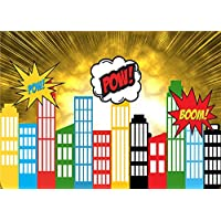 Qian Digital Background Super Hero City Photo Props for Studio Cartoon Baby Backdrops Vinyl 7x5FT 210cm X 150cm Qian-sc016