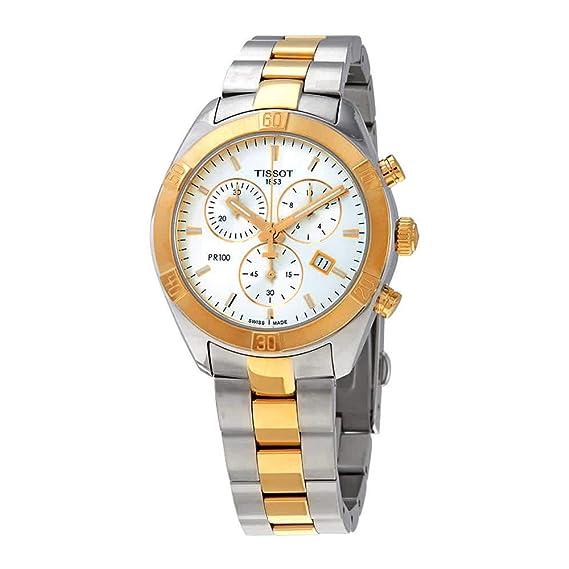 Amazon.com: Tissot PR 100 Mens Two-Tone Chronograph Watch ...