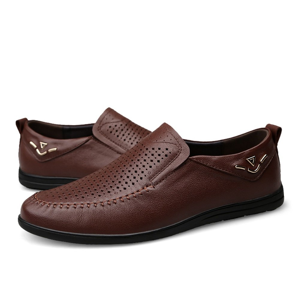 Color : A, Size : 45 XUEXUE Mens Shoes Leather Spring Summer Driving Shoes Comfort Loafers /& Slip-Ons Walking Shoes Breathable Hollow-Out Office /& Career Formal Business Work