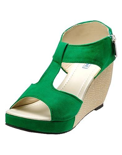 f32ddad06f492 Yepme Women's Green Velvet Wedges YPWFOOT8657_8: Buy Online at Low ...