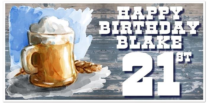 amazon com 21st birthday banner beer mug birthday banner