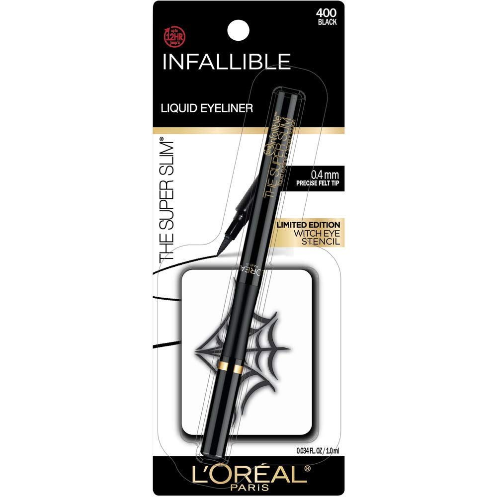 L'Oreal Paris Cosmetics Halloween Makeup Kit, Infallible Super Slim Liquid Eyeliner With Limited Edition Easy-To-Use Witch Eye Stencil, Black, Halloween kit