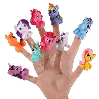 AGAWA 10pcs/Set Plastic Unicorn Finger Puppet Toys Cute Cartoon Animal Finger Puppet Story Telling Baby Educational Hand Toys: Toys & Games