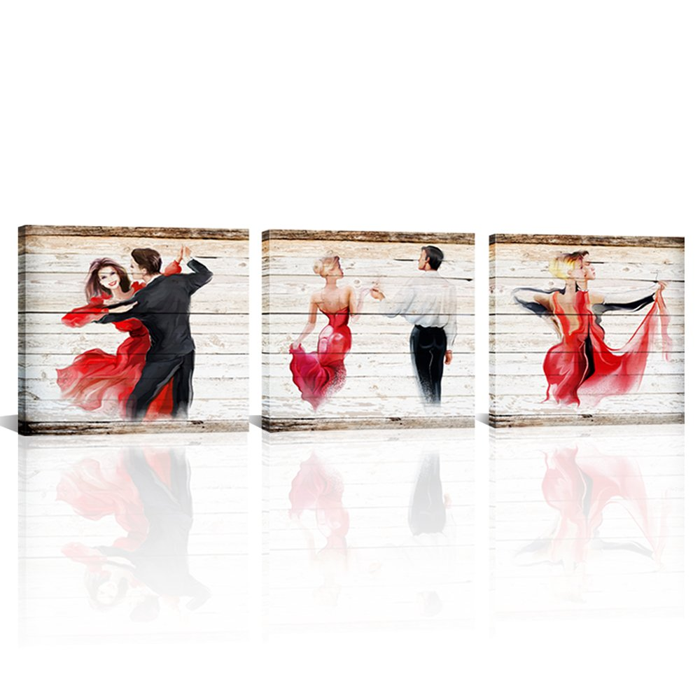 Large 3 Panel Modern Canvas Wall Art American Latin Dances wooden Frame Style Poster Prints Abstract Canvas Painting For Dance Studio Living Room Ready Hanging On 16''x16''x3 (Dancer, 16''x16''x3)