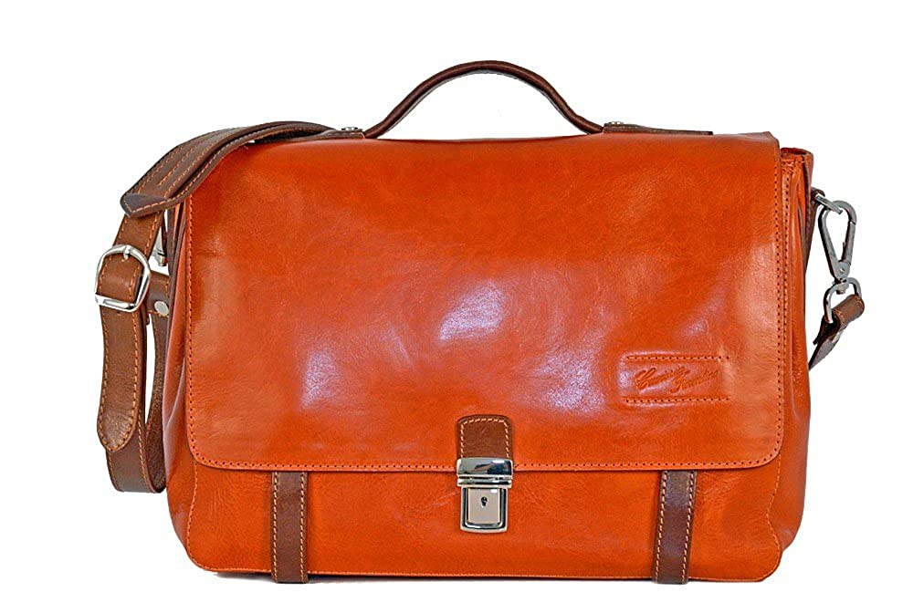 0238daba6d CUOIERIA FIORENTINA Cartella Cuoio lavoro pelle Arancio/Bicolore Made Italy:  Amazon.it: Abbigliamento