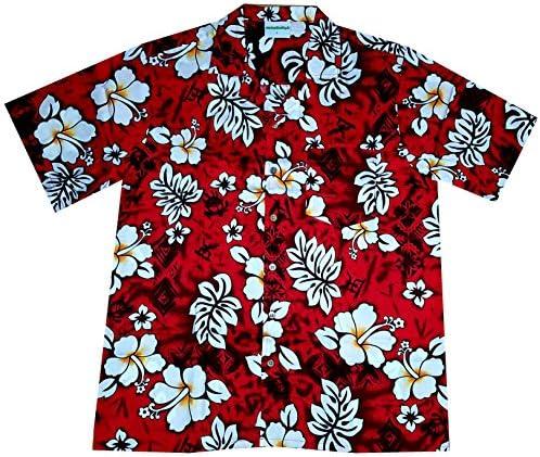 """Camisa Hawaiana/Hawaii Hombre """"Flores clásicas"""" / 100% algodón/tamaño S – 8XL / Rojo: Amazon.es: Ropa y accesorios"""