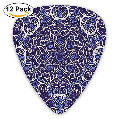 Kaleidoscope Circular Pattern Floral Modern Bohemian Artprint Guitar Picks 12/Pack