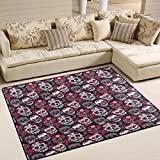 ALAZA Vintage Floral Sugar Skull Day of the Dead Area Rug Rugs for Living Room Bedroom 7′ x 5′ For Sale