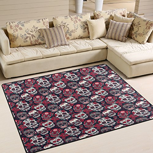 ALAZA Vintage Floral Sugar Skull Day of the Dead Area Rug for Living Room Bedroom 5'3 x 4′ Review