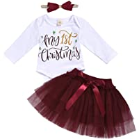 My First Christmas Skirt Sets Long Sleeve Romper Bodysuit Tutu Headband 3pcs Outfits