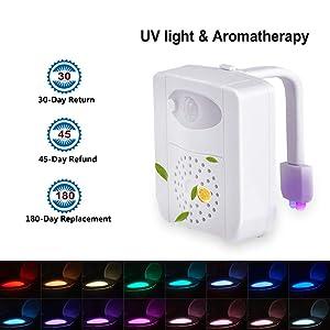 PHICOOL Toilet Lights Waterproof LED Toilet Night Lights Motion Sensor Light for Toilet with Aromatherapy, 16 Colors UV Toilet Bowl Light for Kids, Bathroom, Washroom, Bedroom(1 Pack)