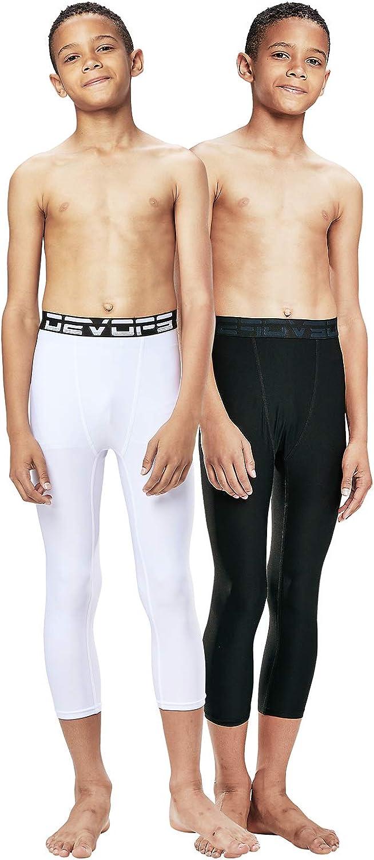 DEVOPS Boys 2-Pack 3/4 Compression Tights Sport Leggings Pants: Clothing