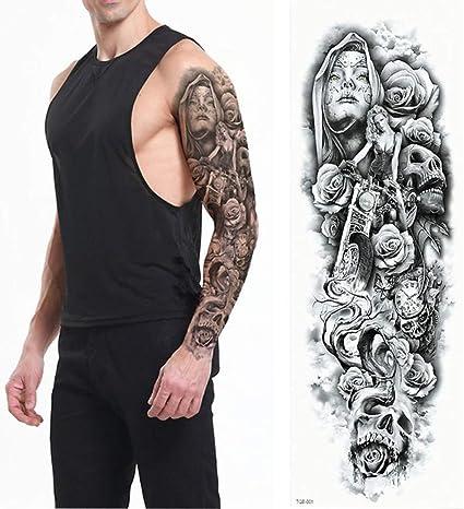 Tzxdbh Grand Tatouage Bras Complet Couronne De Lion Roi Rose Autocollant Imperméable Tatoo Loup Sauvage Tigre Hommes Crâne Totem Tatouage Tatouages De Tqb01 Amazon Fr Cuisine Maison