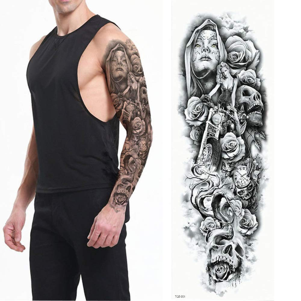 tzxdbh Gran Brazo Completo Tatuaje León Crown King Rose ...