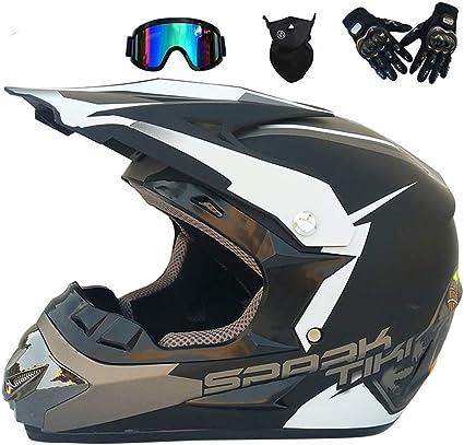 Tkgh Motocross Helm Adult Tk 724 Unisex Off Road Helm Mit Brillen Handschuhe Maske Motorradhelm Enduro Sport Atv Helm Für Männer Damen Sicherheit S M L Xl 4 Des Sets Sport