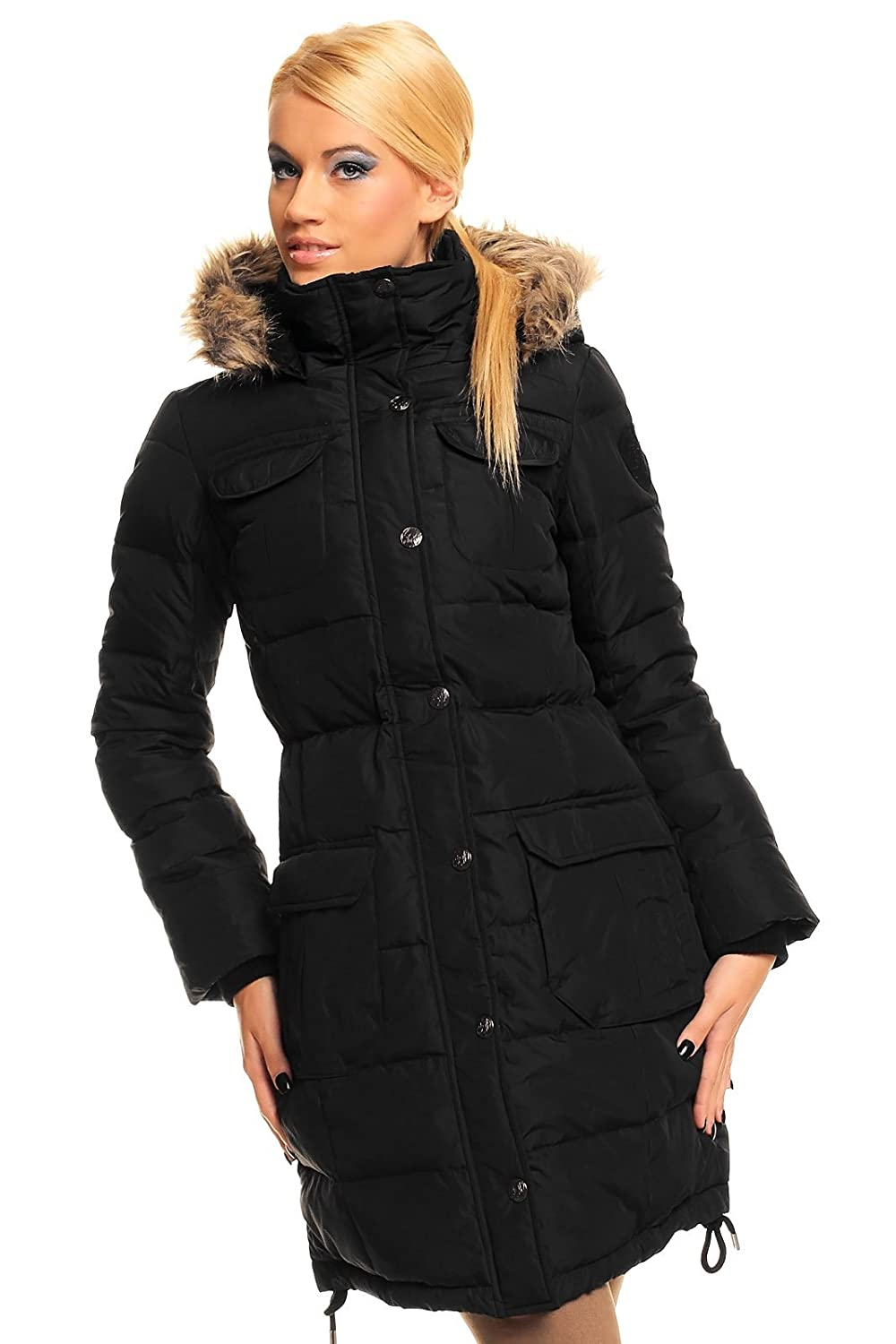Fresh Made Daunen Mantel Steppmantel Wintermantel Steppjacke Fell Kapuze