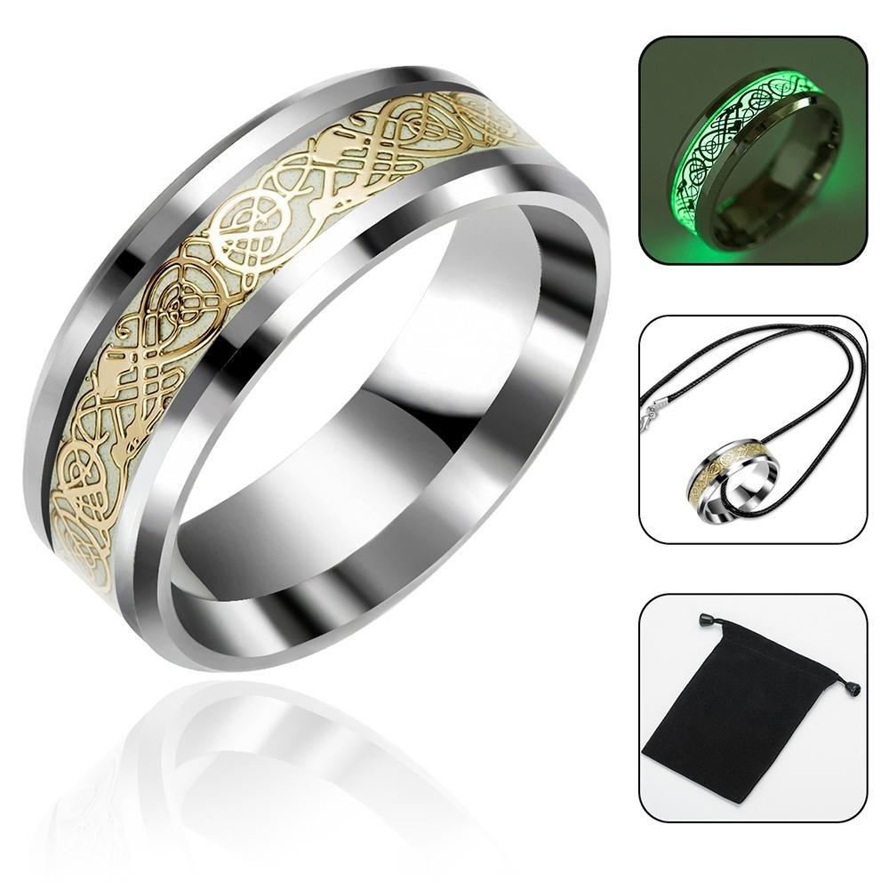 Aolvo luminoso Glow wedding Band anello dorato in acciaio INOX intarsio comfort Fit wedding Band anello per uomo o donna–Dragone celtico anello gioielli con borsa e collana, 1.65cm