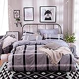CASA 100% Cotton Bedding Plaid Duvet Cover Set & Flat sheet,4 Piece,Queen