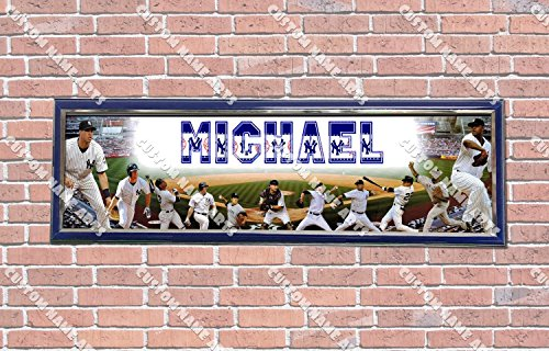 - Personalized Customized NY Yankees Poster With Frame, With Your Name On It, Party Door Poster, Room Art Decoration, Wall Decor