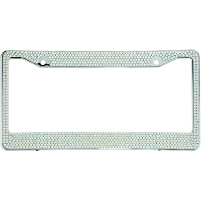 BLVD-LPF OBEY YOUR LUXURY AB Aurora Borealis Crystal Rhinestone License Plate ABS Chrome Frame with Crystal Screw Caps - 1 Frame: Automotive