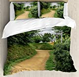 Hobbits Duvet Cover Set by Ambesonne, Elf Path in Woods of Hobbit Land in The Shire New Zealand Movie Set Image Print, 3 Piece Bedding Set with Pillow Shams, King Size, Green Brown