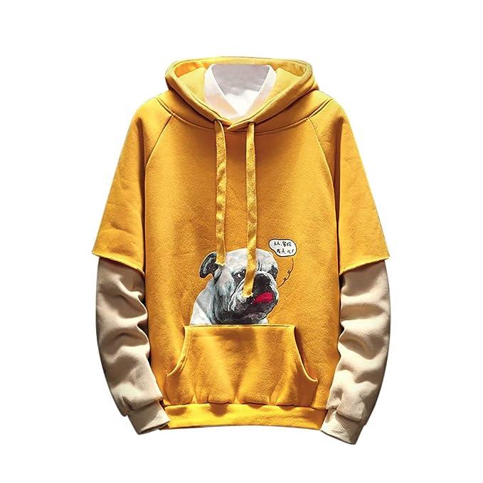 Yvelands Sudadera para Hombre de Estilo Hip Hop, Moda para Hombres Puppy Printed Long-Seeved Fake Sweater de Dos Piezas.: Amazon.es: Ropa y accesorios