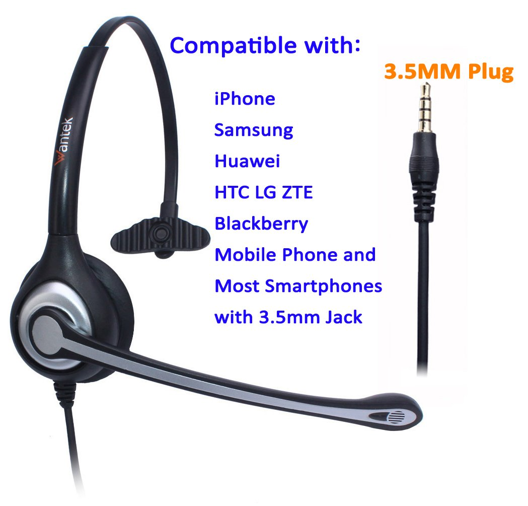 Wantek Cell Phone Headset Mono with Noise Canceling Mic and Adjustable Fit Headband for iPhone Samsung Huawei HTC LG ZTE Blackberry Mobile Phone and Smartphones with 3.5mm Jack(F600J35) by Wantek (Image #4)