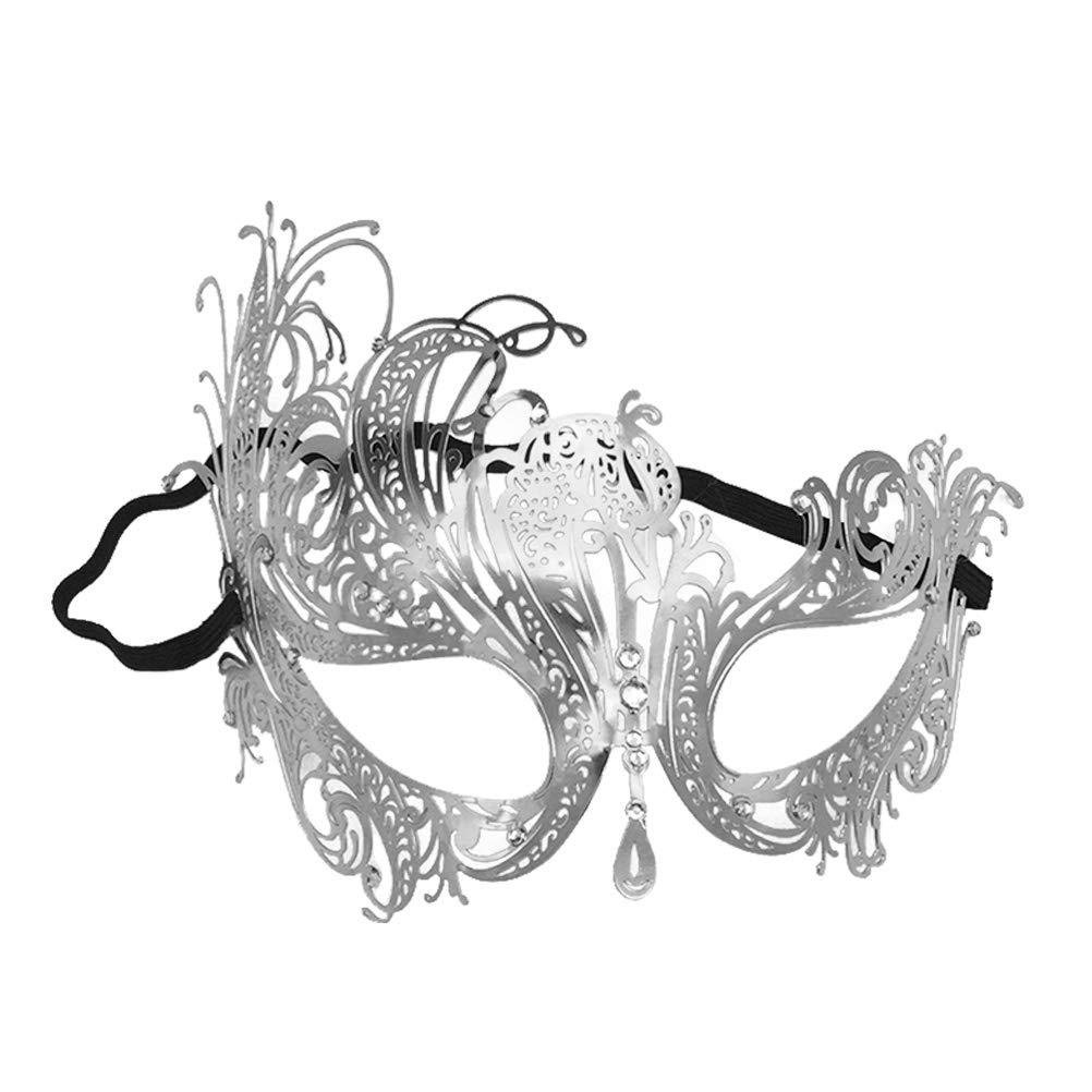 STOBOK Máscara Veneciana máscara de Medio Rostro máscara de Metal para la máscara de Disfraces de Disfraces de Halloween Mascarada (Plata)