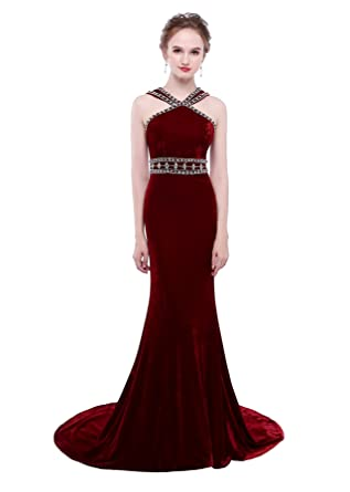 HEIMO Womens Velvet Beading Evening Party Gowns Mermaid Sequined Formal Prom Dresses Long H269 0 Burgundy