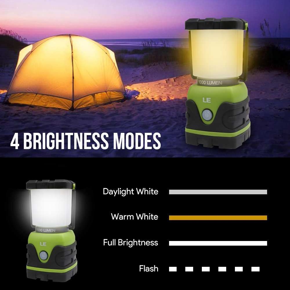 LE Portable LED Camping Lantern 4 Lighting Modes 1000lm Hiking Fishing Emergency and more Lighting EVER 3300002 Battery Powered Tent Light for Home Dimmable Outdoor Garden