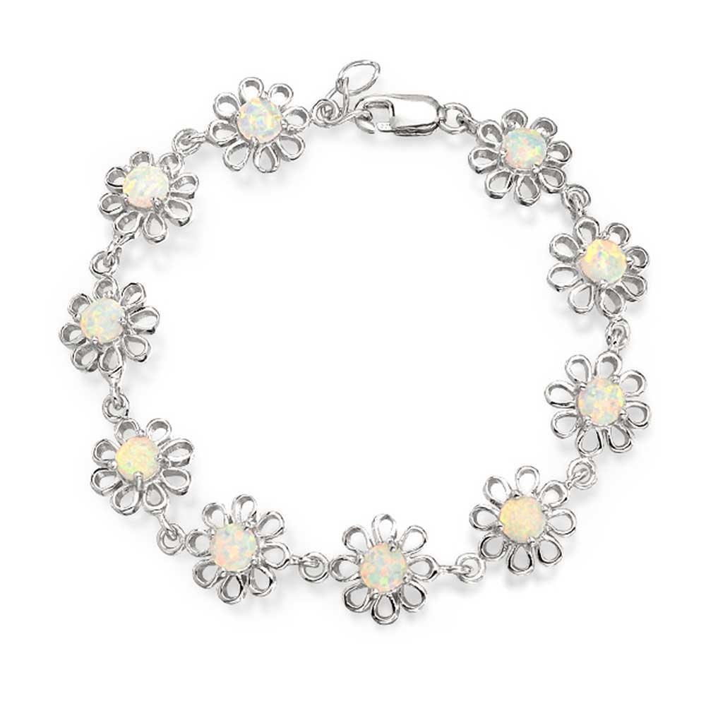 Daisy Flower White Created Opal Link Bracelet For Women For Girlfriend 925 Silver October Birthstone