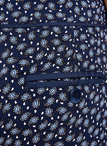 oodji Ultra Mujer Pantalón Ligero Estampado de Viscosa Azul (7935E)