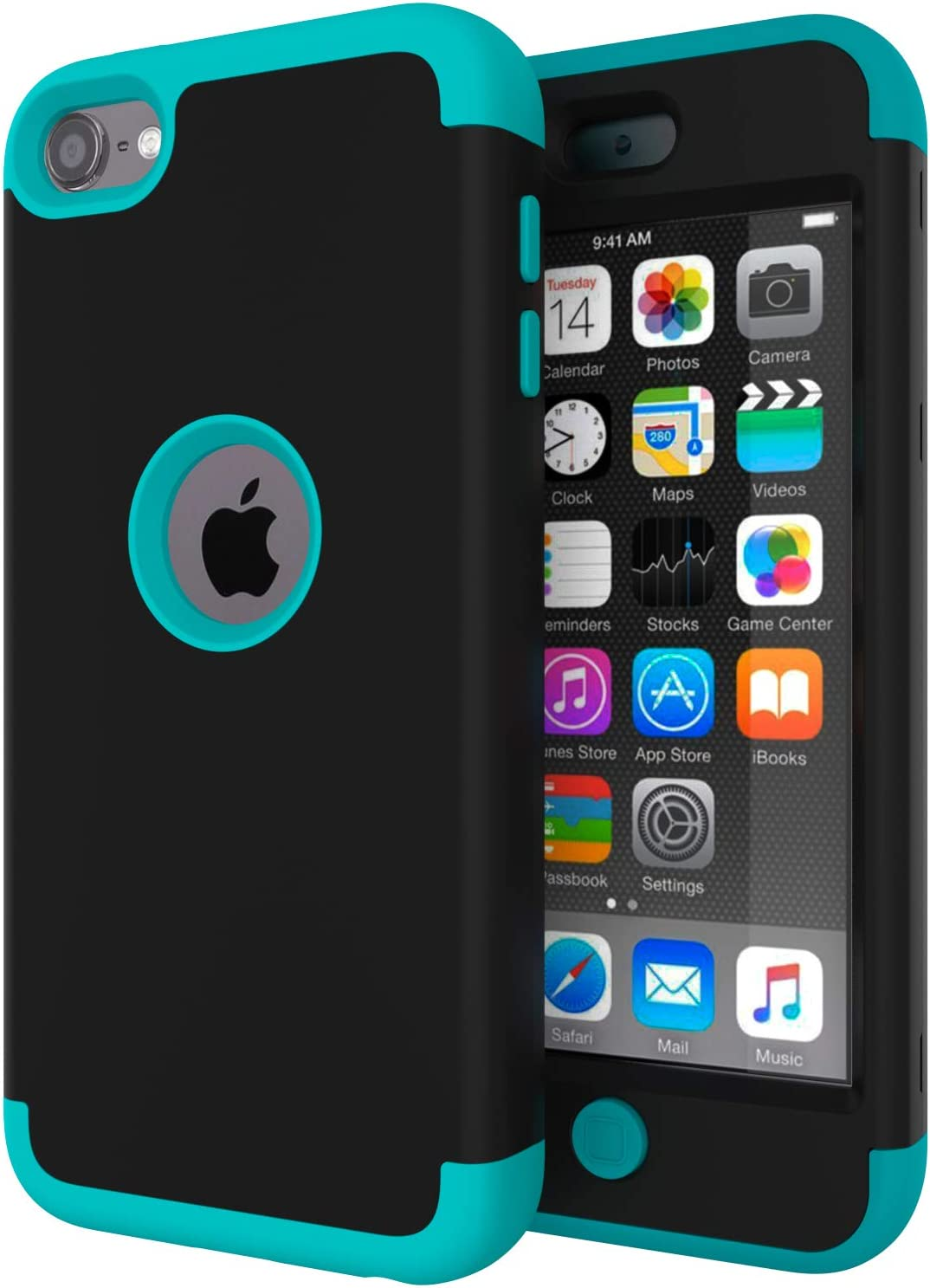 iPod Touch 7 Case,iPod Touch 6 Case,SLMY(TM)High Impact Heavy Duty Shockproof Full-Body Protective Case with Dual Layer Hard PC+ Soft Silicone For Apple iPod Touch 7th/6th/5th Generation Black/Blue