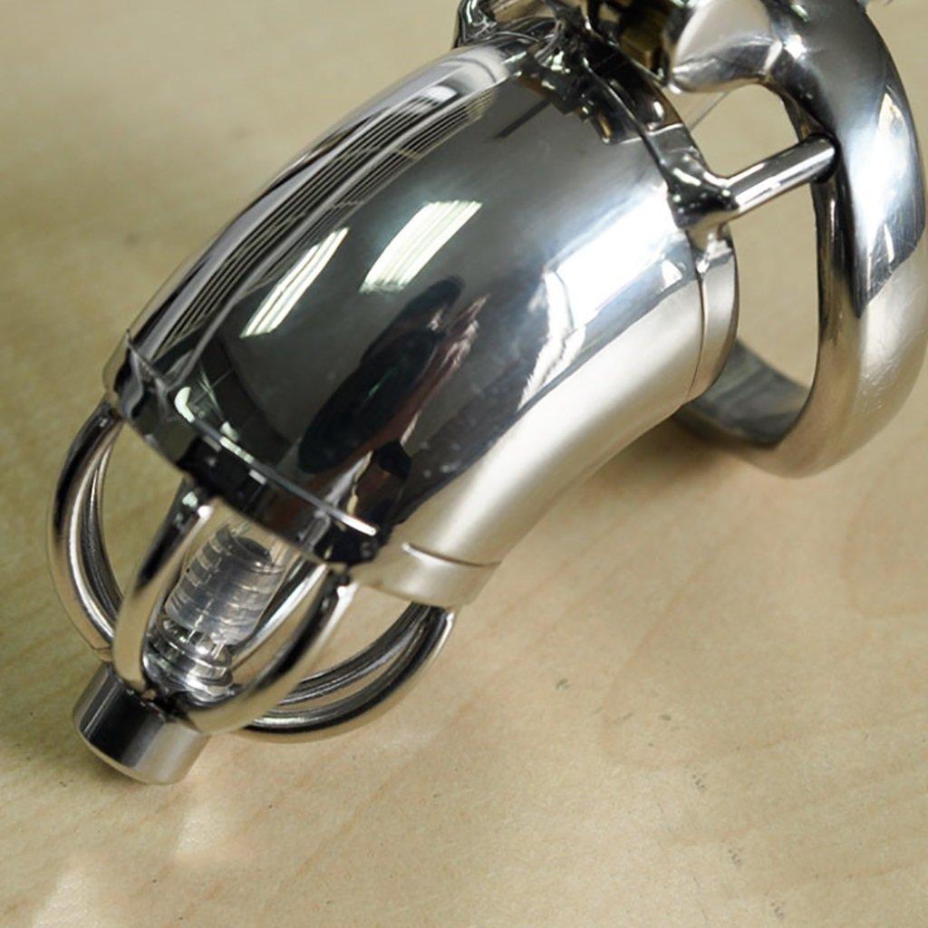 Cinturón de castidad castidad de Chastity jaula, juguetes sexuales, hombres de acero inoxidable largo tubo de catéter cinturón de castidad dispositivo de bloqueo curvo anillo a presión A278-1 (Color : 40mm) 9b3b2f