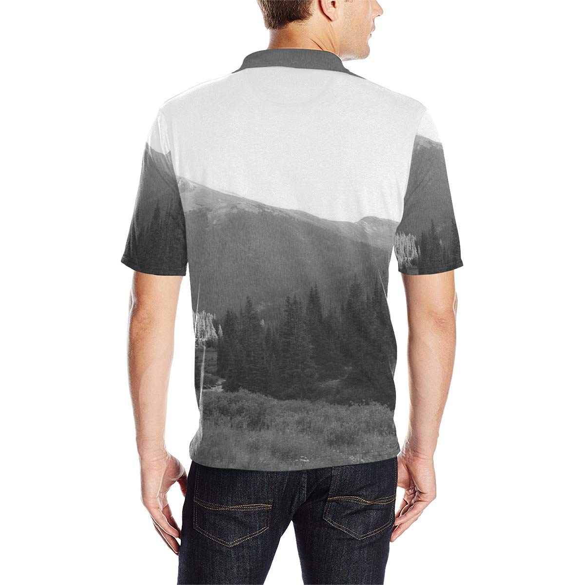 BrowneOLp Short Sleeve Forest Mens All Over Print Polo Shirt