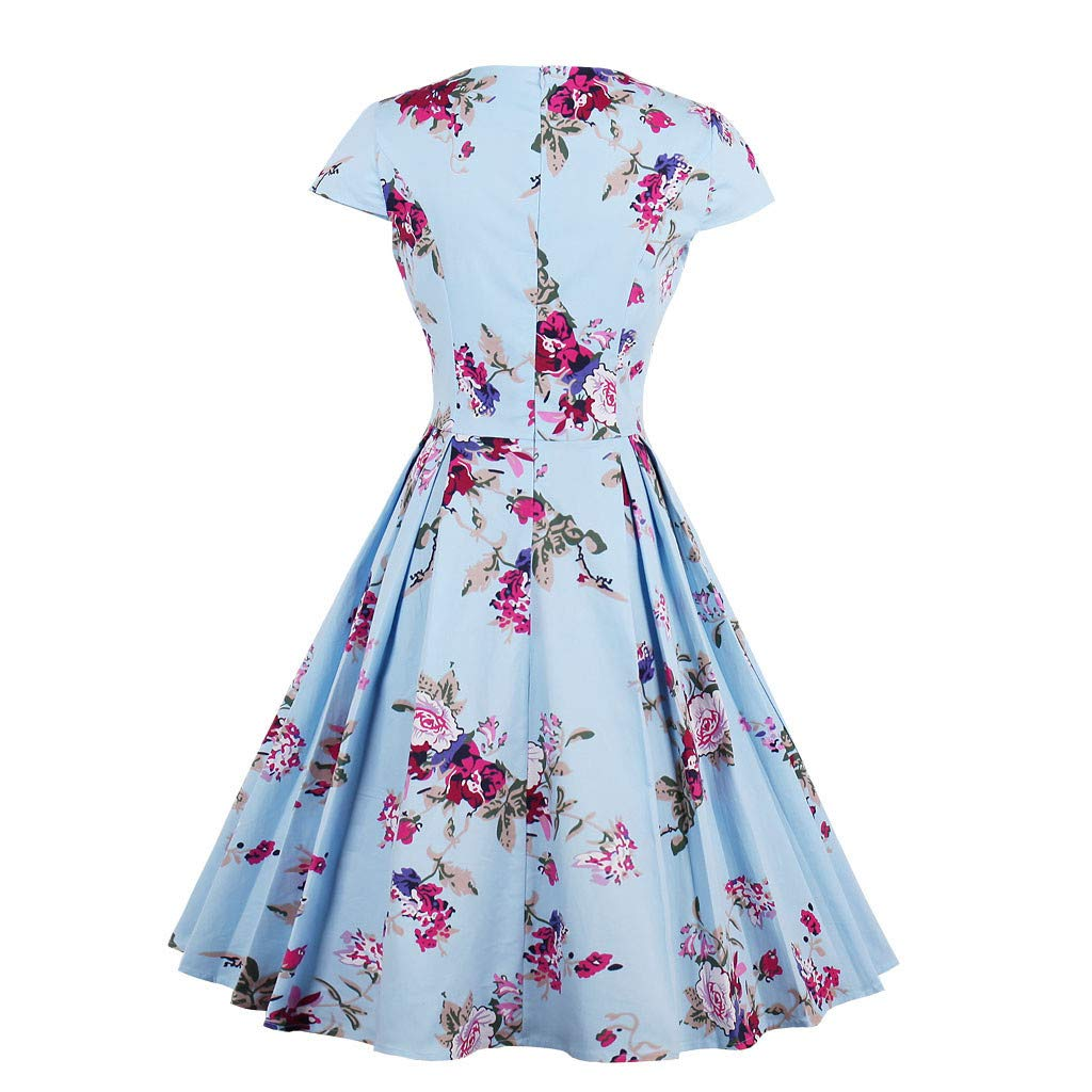 Lywey Fashion Women Plus Size Short Sleeve Floral Print Party Vintage Swing Dress