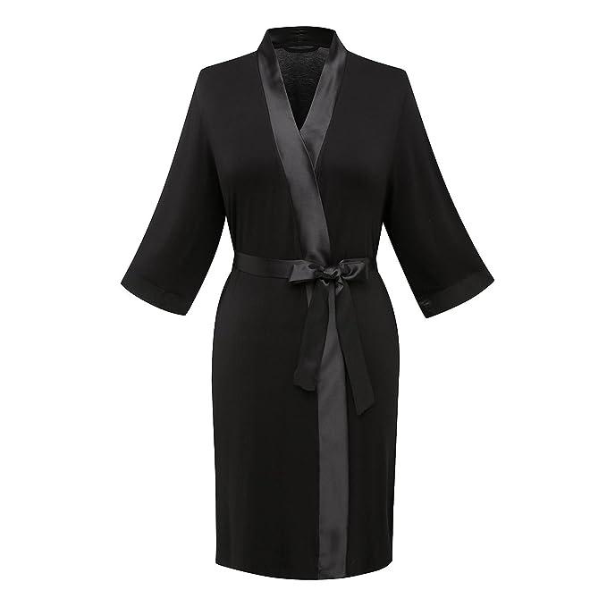 Women\'s Modal 3/4 Sleeve Black-Trimmed Short Robe Bathrobe Dressing ...