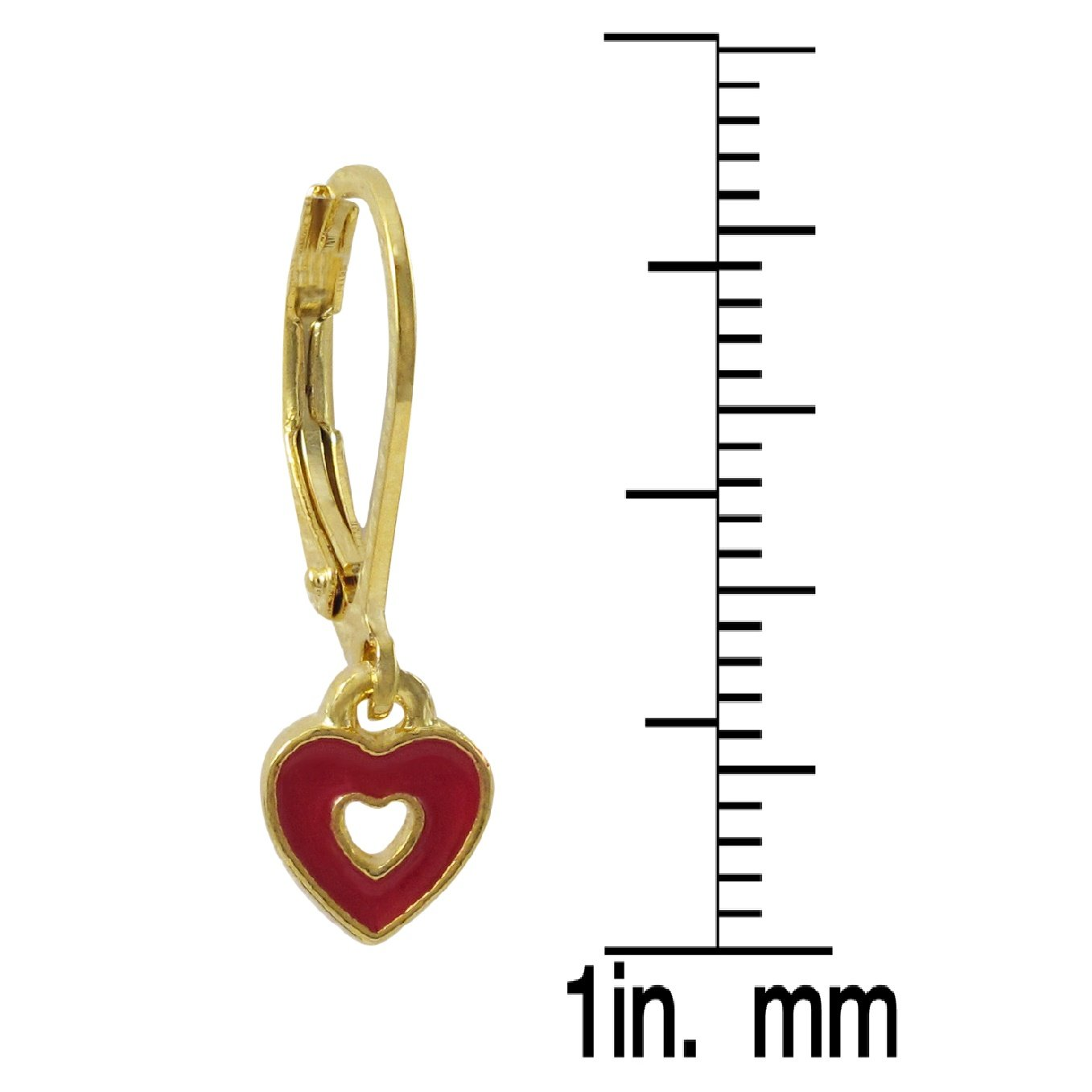 Ivy and Max Gold Finish Red Enamel Heart Girls Dangle Earrings