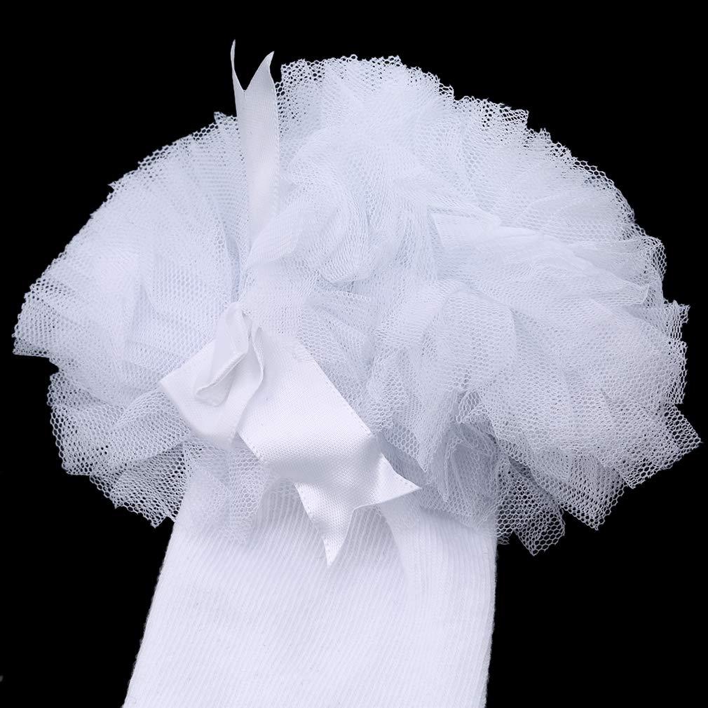 DearAnswer Sweet Baby Princess Bowknot Floral Lace Socks Kids Cotton Ruffle Frilly Trim Knee Socks,3#,S