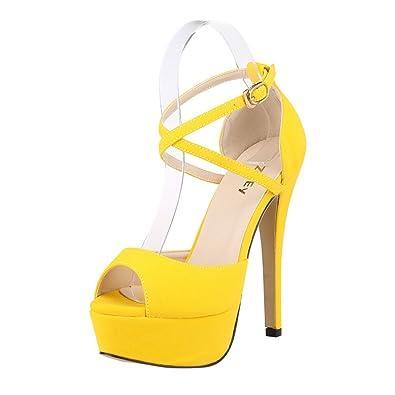 ZriEy Womens Peep Toe Strappy Platform Stiletto Ladies High Heel Sandal Shoes  Yellow Size 8.5M 50cdd0f6ba