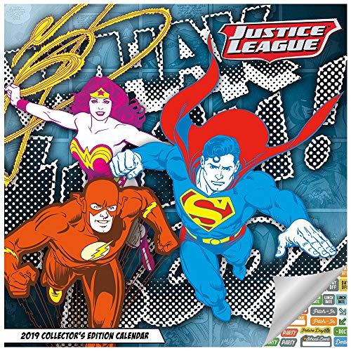 Dc Comics Heroes - DC Comics Calendar 2019 Set - Deluxe 2019 DC Comics Collector's Edition Calendar with Over 100 Calendar Stickers (DC Comics Gifts, Office Supplies)