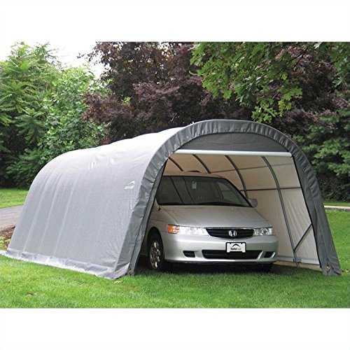 ShelterLogic 12-Ft.W Round-Style Instant Garage - 28ft.L x 12ft.W x 8ft.H, 1 5/8in. Frame, Gray, Model# 76632 (Garage Boat Round Style)