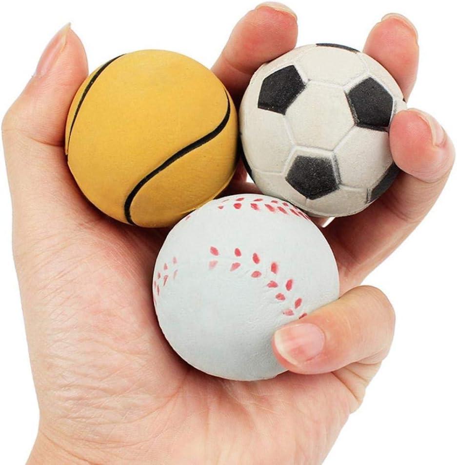 TINGSU - Pelota de pelota de tenis para entrenamiento, juguete elástico para perro, bola de rebote de fútbol, color al azar y estilo: Amazon.es: Belleza