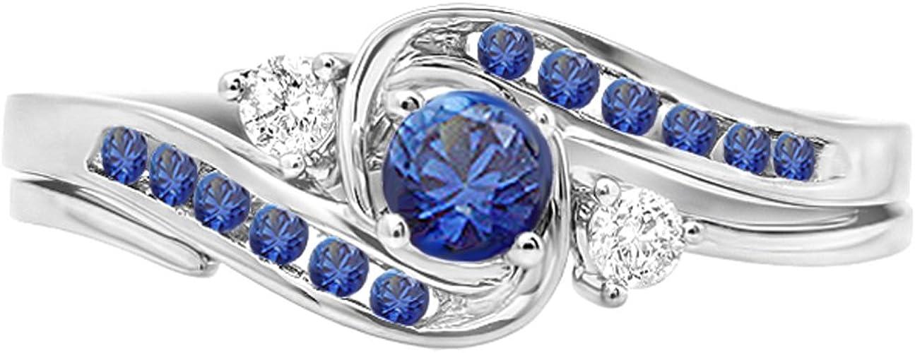 Dazzlingrock Collection 10K Round Blue Sapphire /& White Diamond Ladies Engagement Ring White Gold