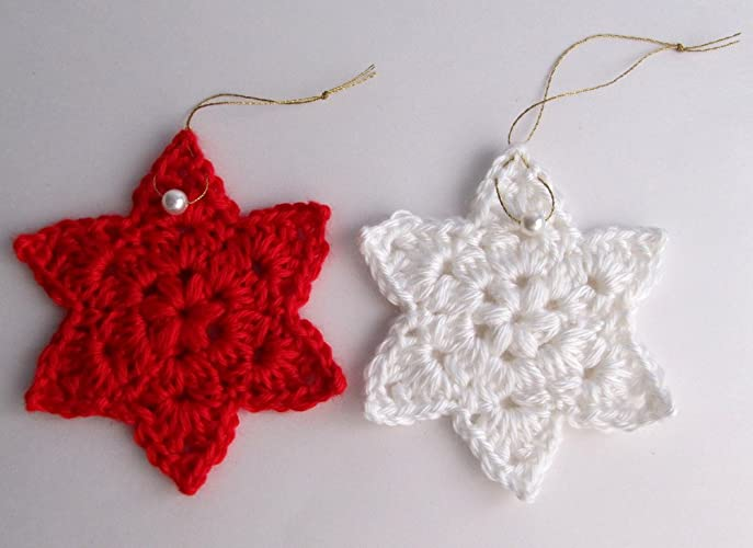 Amazon.com: Crochet Red and White Star Holiday Ornaments Set of 2 ...