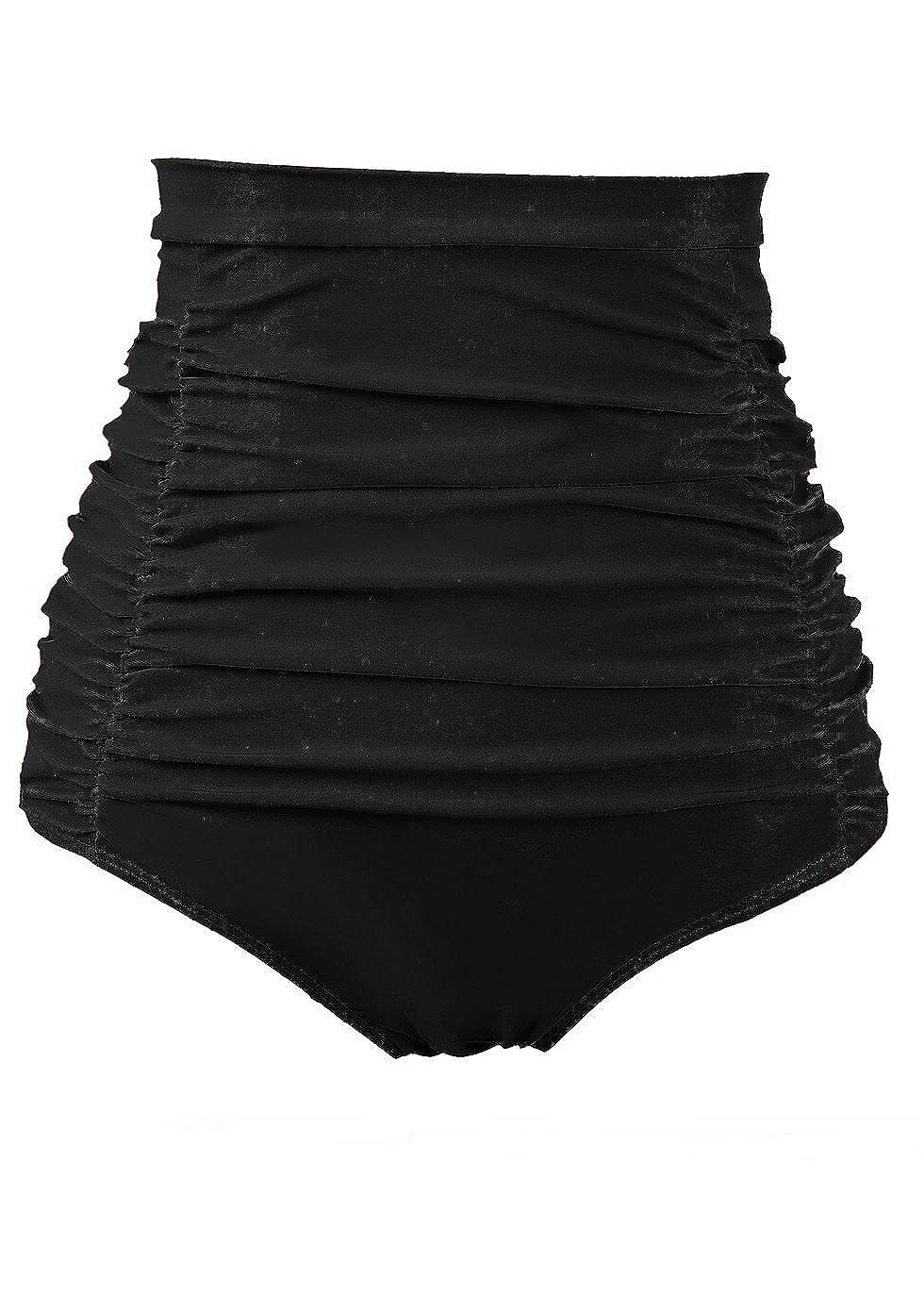COCOPEAR Women's Ruched High Waisted Bikini Bottom Retro Vintage Swim Short Tankinis (FBA) SW3010OERURNXL