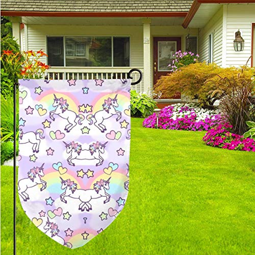 """Pink Colorful Unicorn Outdoor Garden Flag - 12""""Ã-18†Double-Sided Decorative House Welcome Burlap Flag (33 1 3 Pink Flag)"""