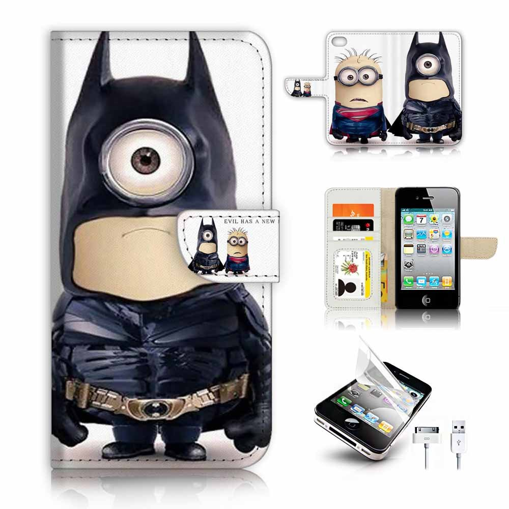 ( For iPhone 4 / 4S ) Flip Wallet Case Cover & Screen Protector & Charging Cable Bundle! A9430 Batman Minion